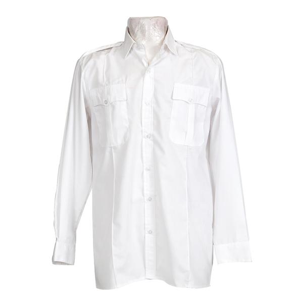Raised Neck Long Sleeve Pilot Shirt with Pin Tucks